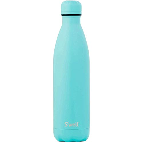 S'well Vacuum Insulated Stainless Steel Water Bottle, 25 oz, Turquoise Blue with matching cap