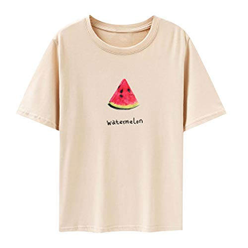 EUZeo Lässige Kurzarm-T-Shirts für Damen Früchte Bedruckte Tops mit Rundhalsausschnitt Frauen Casual Drucken Tees Shirts Blusen Hemden Streetwear Oberteil