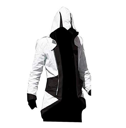 KIRALOVE Jacke des Assassins Creed - Cosplay - verkleidung - Halloween - Karneval - Cosplay - Mann - schwarz und weiß größe l Cosplay