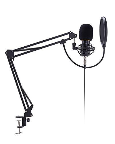 AUKEY USB Kondensator Mikrofon Set Pro mit Ständer, Popschutz, geeignet für Studio und Rundfunk Aufnahmen