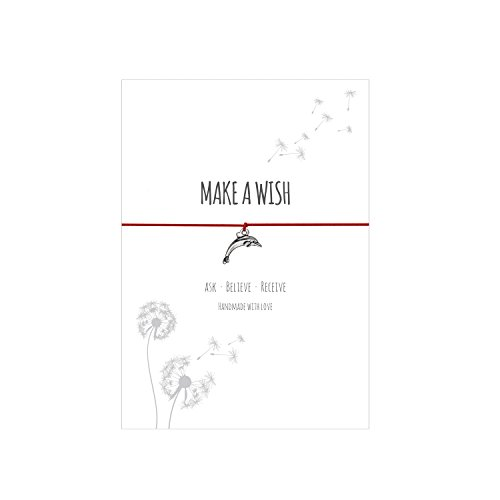 Glücksschmiedin Make a Wish - Wunsch Armband mit Delfin Anhänger versilbert, elastischem Textilband in rot und liebevoller Karte: Ask-Believe-Receive