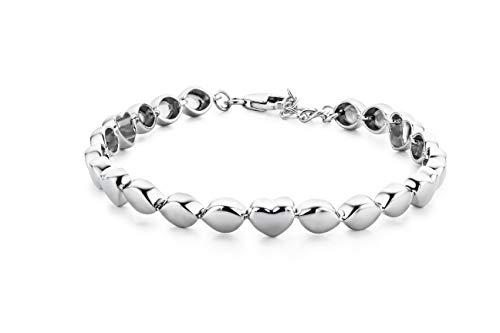 Miore - Pulsera con corazón para mujer (plata 925, 21 cm)