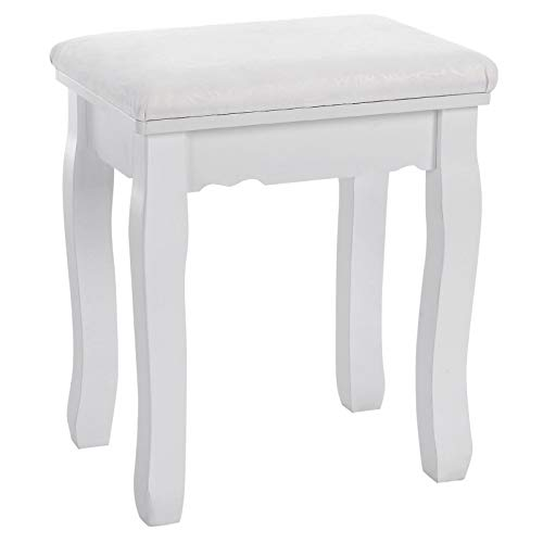 Songmics Dressing Table Stool Makeup Vanity Stool Padded Bench Chair With Rubberwood Legs 37 x 45 Cm, 130Kg, White Rds45W