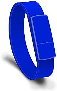 QGT USB Flash Drives 128GB USB 2.0 Fashion Bracelet Wristband U Disk (Black) (Color : Blue)