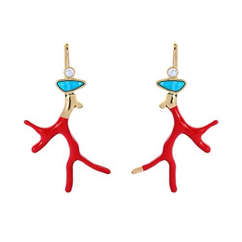 WANGZI esmalte rojo Coral Cornamentas Rama Resina acrílica Pendientes colgantes Chica Joyería de moda