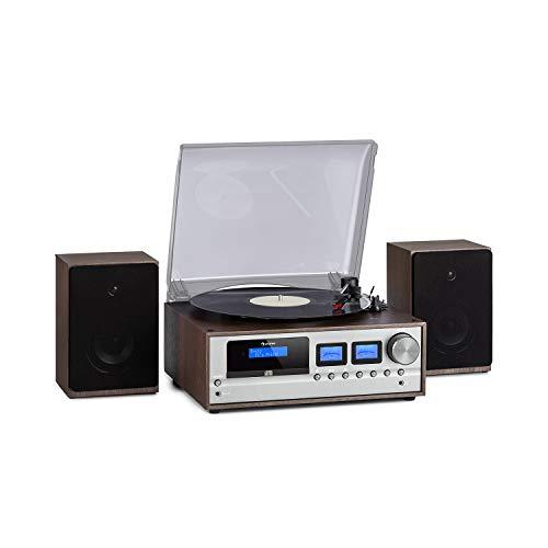 auna Oxford - Equipo de música estéreo con Tocadiscos, Sintonizador de Radio Dab+ FM, x2 Altavoces de 20 W, Bluetooth, Tracción por Correa con 33 45 78 RPM, Reproductor CD, Entrada AUX, Gris