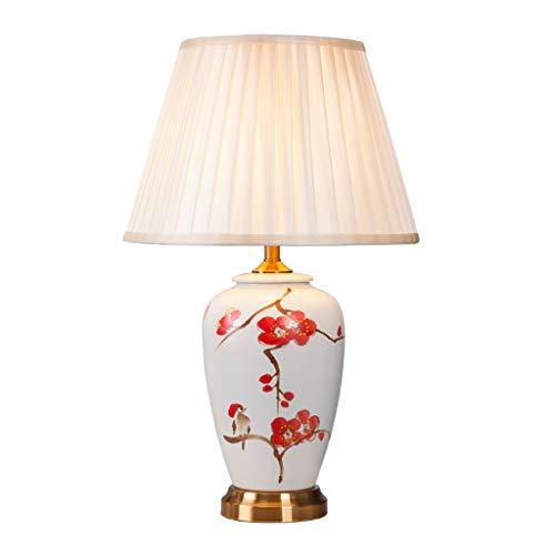 Lampe de table chambre chevet en céramique lampe de table de salon en tissu peint à la main