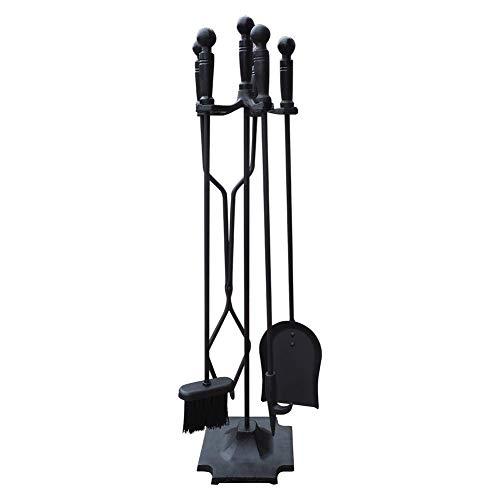 Set di attrezzi per camino in ferro battuto nero con base a piramide, set di utensili per camino rustico con camino con set di kit di pinze per ceppi di legna da poker in legno, accessori per camino