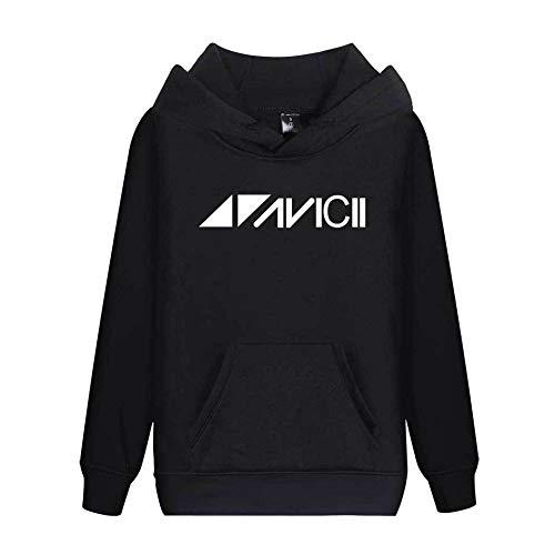 JJZHY DJ Avicii Plus Velvet Simple Solid Color Hoodie Unisex 6 Farben,Schwarz,M