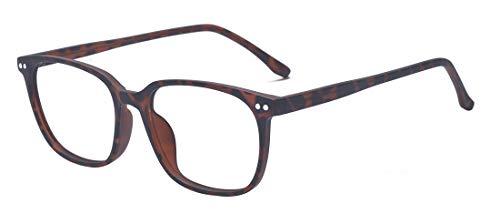 ALWAYSUV ALWAYSUV Retro Nerd Brille Klar Linse Brillenfassung Unisex Brillengestelle in Schwarz und Leopard