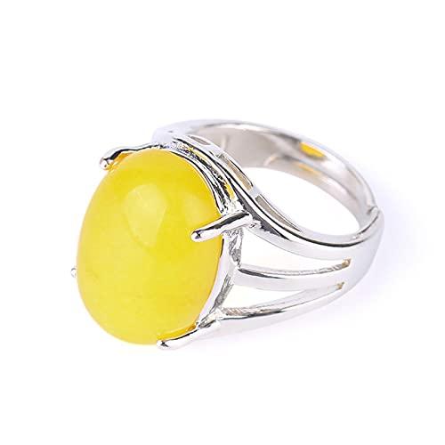 Anillos de piedra natural con forma de huevo para mujer, apertura ajustable, color plateado, fiesta de aniversario, anillo de dedo, cuentas ovaladas