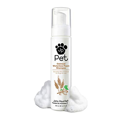 John Paul Pet Oatmeal Waterless Foam Shampoo for Dogs and Cats, Sensitive Skin Formula, 8.5-Ounce