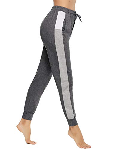 Akalnny Damen Jogginghose Lang High Waist Baumwolle Trainingshose Sweathose Sporthose Freizeithosen Yogahosen Hosen mit Taschen Bequem(Dunkelgrau,S)