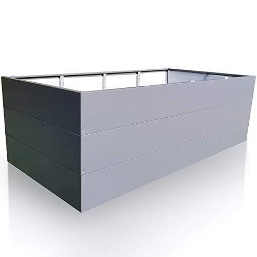 Hochbeet für Garten, Verzinkter Metall 200x100x63 Grau Rechteckig. Gartenbeet Premiumqualität Stahl