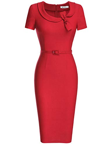 MUXXN Women's Elegant Vintage Scoop Neck Tunic Office Work Pencil Dress (3XL, Red)
