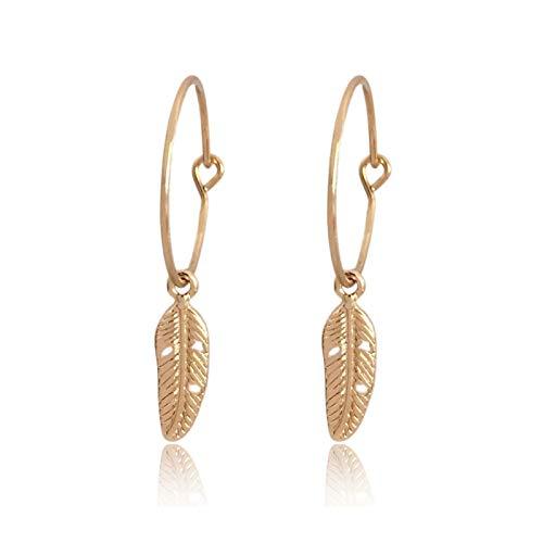 QIN Nuevos Pendientes de aro Colgantes Bonitos de Moda Aro de 18 mm de Color Dorado con Pendientes Colgantes de Plumas Bonitos para Moda de niña