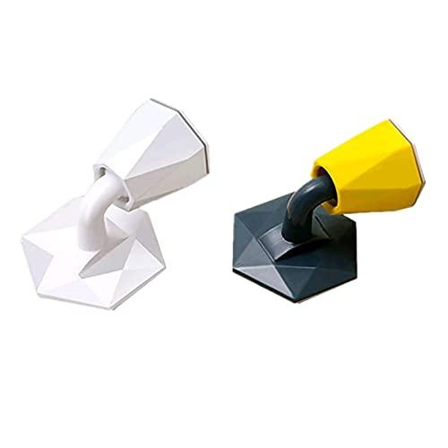 KUCOCOSNEH Tope para puerta de plástico autoadhesivo resistente para varios tipos de puertas, 2 unidades, color blanco y azul