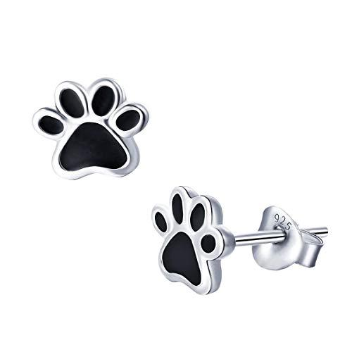 CLEVER SCHMUCK Pendientes pequeños de plata con forma de huella de perro de 7 mm, lacados en negro brillante, plata de ley 925 para mujeres, niños o adolescentes