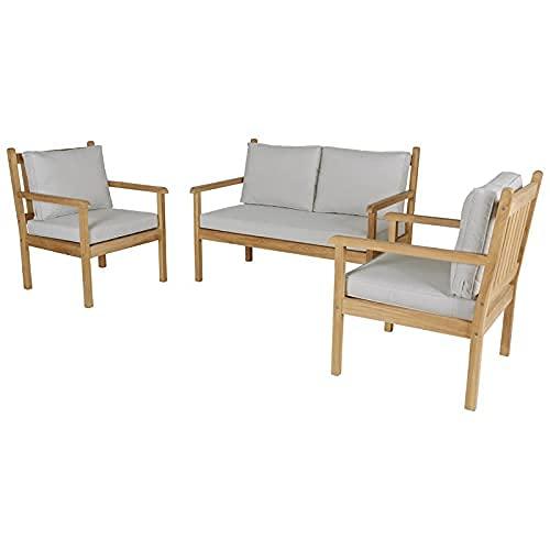 KAYU - Salón de jardín de teca maciza con 1 sofá de 2 plazas de teca y 2 sillas de teca