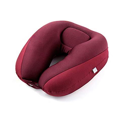 LHTCZZB Doble Capa Doble Hebilla extraíble y Lavable Viaje portátil con Forma de U Material Antideslizante para Almohadas para Almohadas Esenciales de Viaje para Sentarse en la Oficina (Rojo)