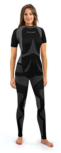 Sesto Senso Donna Intimo Termico Impostato Maglia a Maniche Corte T-Shirt Funzionale e Pantaloni Lunghi S Grigio