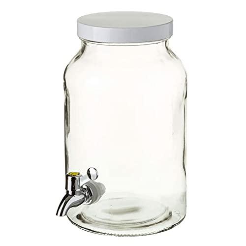 Tarro dispensador de cristal con grifo 4,2 litros, bote dispensador bebidas, botella con grifo, garrafa agua, jarra 26,2 x 16 cm