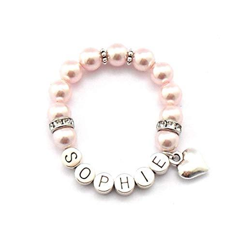 Namensarmband Kinder, Einschulungsgeschenk, Kinderarmband, Geburtsarmband mit Perlen, Geschenk Taufe personalisiert, Baby Armband mit Gravur Mädchen