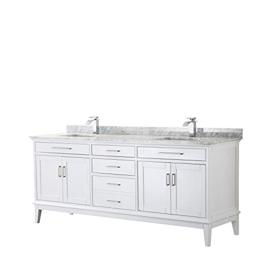 Margate 80 Inch Double Bathroom Vanity in White, White Carrara Marble Countertop, -