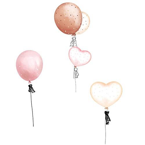 SPFOZ Haus Dekoration [Shijuekongjian] Karikatur-Mädchen-Mond-Wand-Aufkleber DIY-Ballon-Wandaufkleber for Kinder Zimmer Baby-Schlafzimmer-Haus-Dekoration (Color : Balloon Sticker)