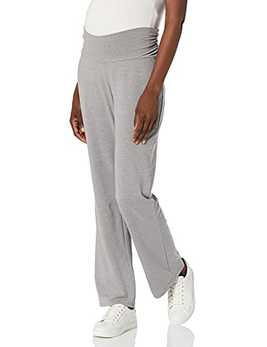 Motherhood Maternity Women's Maternity Full Length Side Ruched Waist Knit Sleep Pant, Grey, Large