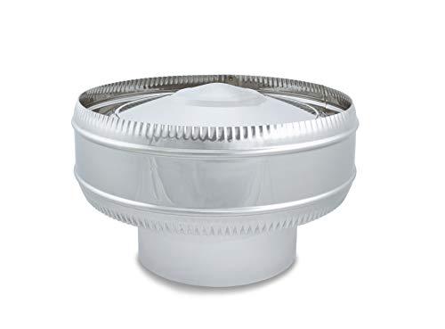 Sombrerete Antirrevocante acero inoxidable para sistemas de ventilación y extracción, chimeneas y estufas de leña y pellet, autoconectable (200 mm)
