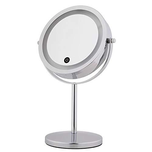 Kleebau Kosmetikspiegel mit Licht-Tischspiegel mit LED-Beleuchtung und 10-facher 360° Schwenkbar für Schminken RasierenVergrößerung