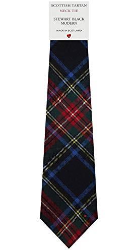 I Luv Ltd Cravate en Laine pour Homme Tissée et Fabriquée en Ecosse à Stewart Black Modern Tartan