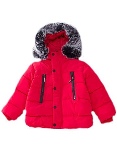 Odziezet Abrigo de Plumas Niñas Niños Invierno Chaqueta Caliente Otoño Invierno Cortaviento con Capucha Negro Rojo Unisex 1-6 años