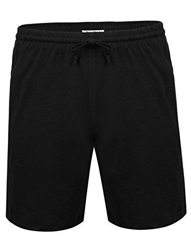Aibrou Herren Schlafanzughose Kurz Baumwolle Pyjamahose Shorty Sommer Nachtwäsche Schlafanzug Sleep Hose Pants Schwarz XL