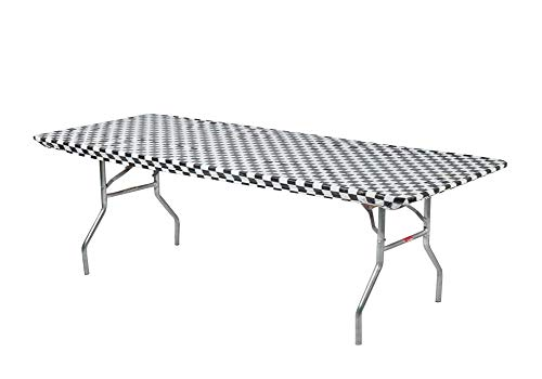 Kwik Covers 8' Rectangle Plastic Table Covers 30' x 96', Bundle of 5 (Black and White Check)