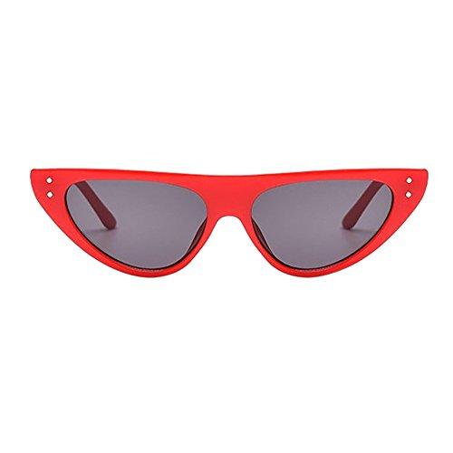 Sonnenbrille für Damen Herren, YWLINK Unisex Vintage Dreieck Katzenaugen Kleine Rahmen Oval Mode Anti-UV Gläser Sonnenbrillen Schutzbrillen Männer Frauen Retro Billig Cat Eye Sunglasses (14.6CM, A)