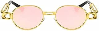 LUKEEXIN Punk New Sunglasses Fashion Round Frame Classic Metal Punk Steam Retro Sunglasses (Color : Gold Frame Pink Lens)