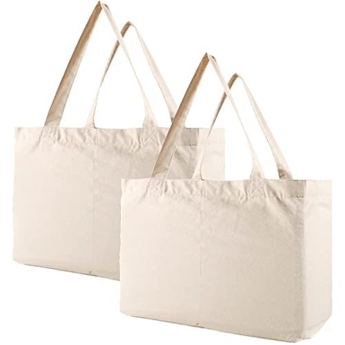 BESEN 2 bolsas de comestibles reutilizables para bolsas de la compra, 15.7 x 11.8 pulgadas, alta calidad, resistente, lavable a máquina, 100% algodón, con correas de hombro reforzadas