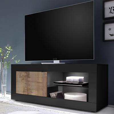 Mueble de televisión 140 cm, color madera y negro FOCIA 4