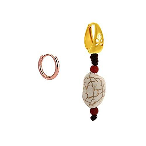 xzbnwuviei Pendientes de gota de turquesa tibetana hechos a mano asimétrico unisex turquesa resina gancho pendientes joyería moda pendientes plata