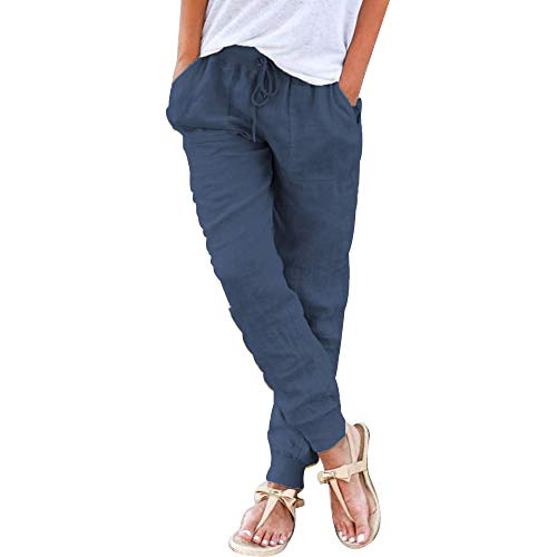 Puimentiua Donna Pantaloni di Lino 7/8 Pantaloni di Svago Estivi Casual Pantaloni Spiaggia Pantaloni Harem con Coulisse