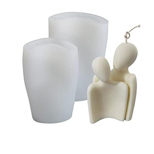 Moldes para velas de perfume familiar Molde de silicona para velas de cuerpo humano para hacer cera, molde para abrazar el cuerpo de la pareja (pareja joven)