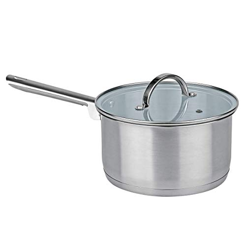 MGE - Cazo de Cocina con Tapa de Vidrio - Cazo de Inducción - Acero Inoxidable - Ø 20 cm