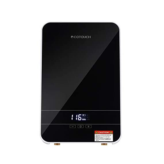 """Tankless water heater electric ecotouch 9kw 240v on demand water heater self-modulating instant hot water heater point… 1 【hot water: instant&endless】 with 9kw tankless water heater electric eco90, you can easily get sufficient hot water of even 116℉or higher. Instead of storing water and long time heating, eco90s electric tankless water heater provides you no waiting instant hot water, nor temperature fluctuations, bringing you instant hot and excellent experience of comfort anytime you want. 【intelligent self modulation】 as water flow reduces, power input decreases: eco90s electric hot water heater intelligently adjusts power input and water temp in real time, which gets you the ideal temp and comfortable hot water. Better still, smart self modulation makes the on demand hot water heater achieve 99. 8% optimal energy efficiency, thus, it will help cut the electricity bill for you. 【upgraded heating system】featuring micro-computer control and patent heating technology, eco90s electric tankless water heater perfectly achieves water heating, keeps outlet temp stable at your need, and promises no """"cold water sandwiching"""". Unique heating element avoids any corrosion inside pipes so as to extend service lifespan of the unit."""