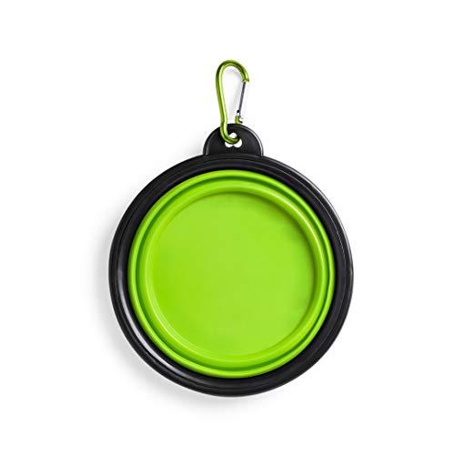 eBuy GB - Ciotola Portatile Pieghevole Pop-up in Silicone da Viaggio per Cani e Gatti, con moschettone in Metallo, 450 ml (Verde)