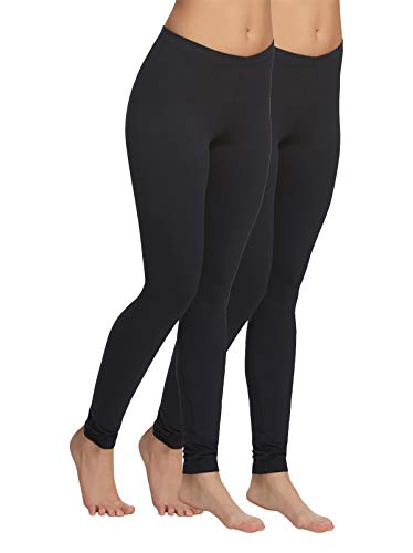 Velvety Super Soft Lightweight Legging 2-Pack (Black, Small)