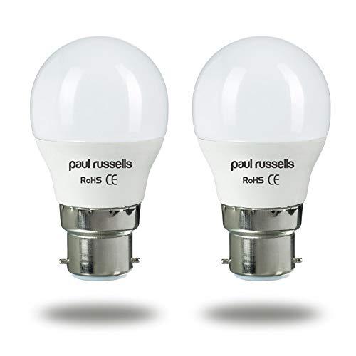 Bombillas LED de 5 W para pelota de golf B22/BC/casquillo de bayoneta Paul Russells brillante 5 W = 40 W G45 globo pequeño 270 luz blanca cálida 2700 K 40 W equivalente a bombillas incandescentes