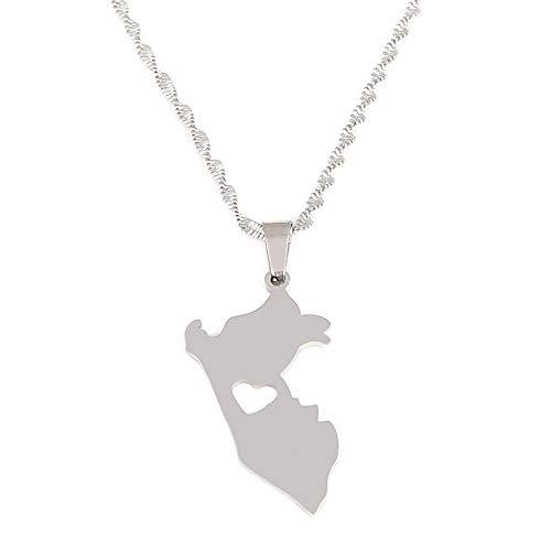 N/A Collar Colgante Acero Inoxidable Color Plata Mapa de Perú Collares Pendientes Mapa de Perú Joyería de corazón Peruano Regalo de cumpleaños de Navidad para el día de la Madre