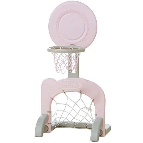 Roll-d 2-in-1-Fußballtor-Set mit Basketballkorb for Kinder, Mehrsport-Basketballständer und Basketball for Kleinkinder, Indoor- und Outdoor-Aktivitäten (Color : Pink)